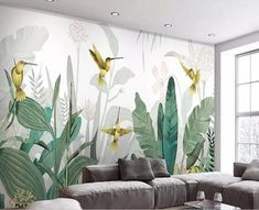 Southeast Asia Tropical Plants Wallpaper, Flying Birds and T.- Southeast Asia Tropical Plants Wallpaper, Flying Birds and Tropical Banan Leaves Wall Murals Wall Decor for Living or Dinning Room - Amazon Wallpaper, Custom Wallpaper, Plant Wallpaper, Wall Wallpaper, Tropical Wallpaper, Mural Painting, Mural Art, Tree Wall Murals, Style Deco