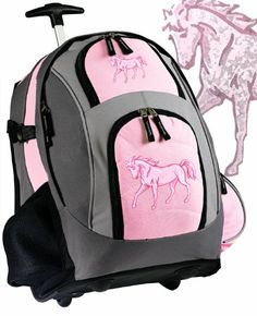 Amazon.com: Pink Horse Rolling Backpack Horses Wheeled Travel Bag School Trolley Bags Horse: Clothing