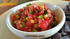 Napa Farmhouse 1885™: Watermelon Salsa  delicious, easy, fast and fresh! Try with chips, fish tacos or as a topping for chicken or grilled fish.  #SummerSoiree #FoodNetwork #Watermelon #salsa #appetizers