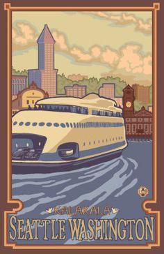 Kalakala Ferry Seattle Washington Travel Poster Digital at ArtistRising.com