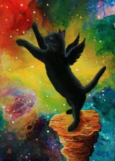 Hogan Blevins Art Black Cat Kitten Angel Joy Original Mini Oil Painting ACEO | eBay - $178.25 - lagaviota