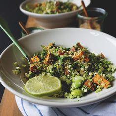 Vanløse blues.....: Broccoli-couscous med sød kartoffel & hytteostdressing
