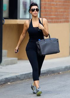 Kim Kardashian...Like her sis Khloe, Kim toted a pricey Hermes Birkin to the gym in LA on April 7.