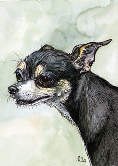A Little Weasely Chihuahua Dog Print by AlmostAnAngel66 on Etsy