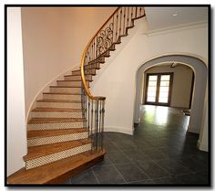 Staircase with tile backsplash. HGC, Fort Worth Texas!