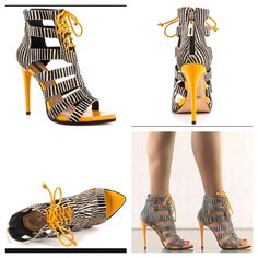 NIB Schutz Fermina Sandal Beautiful black and white calf hair zebra strip with yellow leather sole and heel. SCHUTZ Shoes