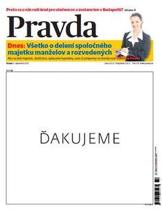 2012, denník Pravda s bielou titulkou, predná strana