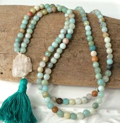 Bohemian Knotted Tassel Mala Necklace, Kunzite Crystal, Layering Amazonite Ocean Blue Beach Chic Everyday Summer Jewelry by loveandlulu
