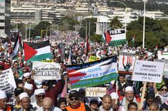 Thousands march for Gaza in Cape Town South Africa witnesses what some have described as the biggest protest march since apartheid.