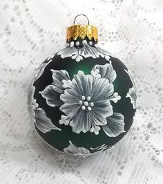 Dark Green Hand Painted 3D White MUD Textured Floral Design Ornament 230 SOLD!