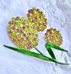 Vintage Flower Brooch and Earring Set  / Chartreuse by imagiLena