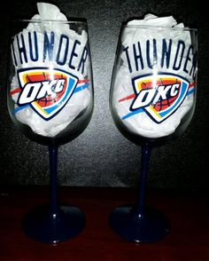Oklahoma City Thunder hand painted wine glass