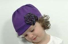 Upcycled/Recycled Girl T-Shirt Hat with Necktie Rosette