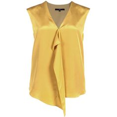 Sleek, simple, and sophisticated, this Tibi blouse in a rich mustard hue will elegantly take your from desk to dinner. Pair it with a sleek trouser, pointy pum…