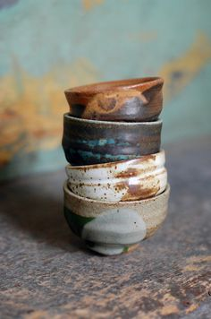 four sake ochoko by ralphnuara on Etsy, $36.00
