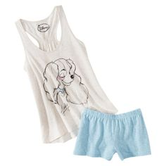 Disney® Juniors Tank & Short Sleep Set - Natural/Blue Lady