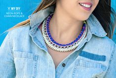Neon rope and chain necklace, via I Spy DIY