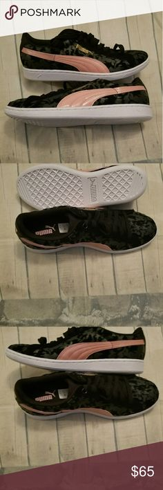Women's pumas Brand new in box.  SIZE 9.5 Colors: Black & pink with white sole. Puma Shoes