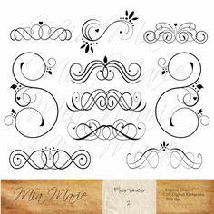 swirl, flourish, heart, vine, leaf, leaves, decorative, embellishment, scrapbooking