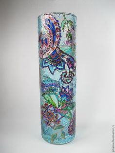 """Купить Ваза""""Таинственный сад"""" - ваза стеклянная, ваза стекло, ваза для цветов, Роспись по стеклу"""