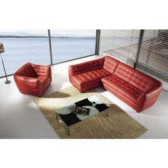 Dijon - Burgundy Leather Sectional with Chair - Sectional Sofas - Living Room