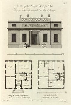 Elevation and plans of a villa, 1779