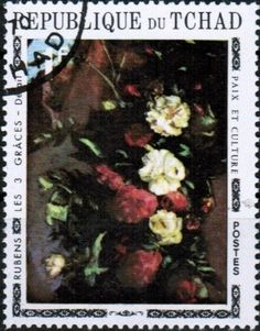 Stamp: The Three Graces (detail), by Rubens (Chad) (Paintings of Flowers) Mi:TD 375A