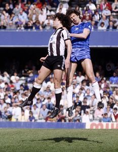 Chelsea 4 Newcastle Utd 0 in Oct 1983 at Stamford Bridge. Kevin Keegan gets up to flick the ball on #Div2