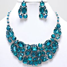 Fancy Zircon Blue Chunky Formal Bridal Crystal Statement Necklace... ($29) ❤ liked on Polyvore featuring jewelry, earrings, post earrings, crystal earrings, earring charms, blue zircon earrings and bridal earrings
