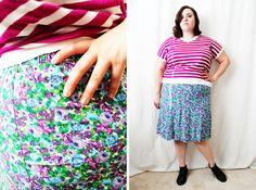 Plus Size  Vintage Purple Ditsy Floral Print by TheCurvyElle