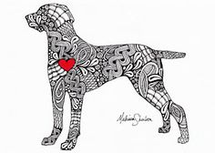 Tangled cowboy boot art print inspiring art zentangle for Weimaraner coloring pages