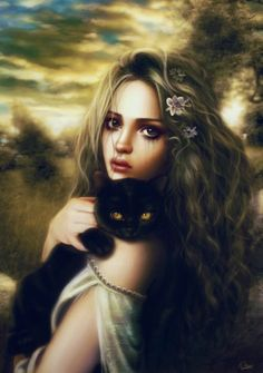 Only You Picture  (2d, realism, portrait, cat, witch, woman, ghotic, girl, fantasy)