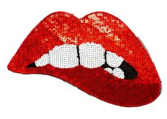 NEW Sew On 1 Large Sequin Red Sexy Bitten Lips Teeth Mouth Applique Patch Motif