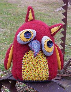 Handmade Plush Owl, Stuffed Owl, Art Doll - Adelaide