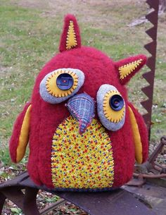 Handmade Plush Owl, Stuffed Owl, Art Doll - Adelaide