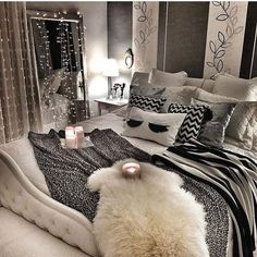 Small bedroom decorating ideas with faux fur, pillows, tapestries, lights, etc 12 gorgeous cozy bedroom styles that'll make you never want to leave your room! Cozy Bedroom, Dream Bedroom, Bedroom Decor, Bedroom Ideas, Master Bedroom, Master Suite, Scandinavian Bedroom, Bedroom Storage, Bedroom Small