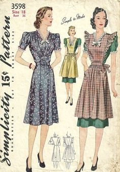 Simplicity 3598 Vintage 40s Sewing Pattern // by studioGpatterns