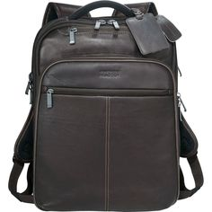 "Kenneth Cole Executive Colombian Leather 17"" Laptop / MacBook Pro Backpack  -New #KennethColeReaction"