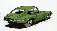 Jaguar E type series 1 (Jidéhem) Citroen Ds, Ford Motor Company, Peugeot 203, Jaguar Type, Automobile, Car Illustration, E Type, Car Drawings, Bike Art