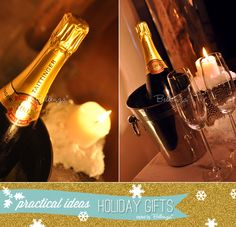 Silver bucket of champagne with flutes as practical Christmas gifts | as seen on the Party Suite at Bellenza. Full post: http://www.bellenza.com/party-ideas/fabulous-finds-parties/holiday-gift-ideas-practical-purpose