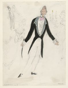 Marc Chagall. A Gentleman. Costume design for Scene IV of the ballet Aleko. (1942)