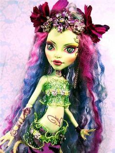 OOAK Venus ~ Custom Monster High Doll Mermaid ~STUNNING New Repaint Mohair Locks Doll by Donna Anne of www.fantasydollsbyd.com