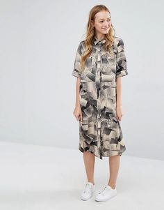 Monki | Monki Spray Paint Print Shirt Dress
