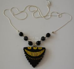 Choker Necklace with Teracotta clay pendant by Smilingarts on Etsy, $25.00