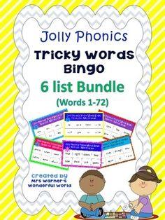 Jolly Phonics Tricky Words Bingo - Bundle - All 6 lists - Words Literacy Stations, Literacy Activities, Activities For Kids, Jolly Phonics Tricky Words, Word Bingo, World Teachers, Starting School, Bingo Games, Teacher Newsletter
