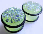 PAIR 5/8in / 16mm Plugs Green Glitter Sparkle Glow in the Dark Acrylic Gauged Earrings for Stretched Ears (No Flare, O-Rings Included). $21.00, via Etsy.