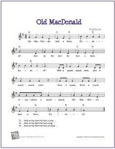 Old MacDonald   Free Sheet Music for Guitar - http://www.makingmusicfun.net/htm/f_printit_free_printable_sheet_music/old_macdonald_leadsheet.htm