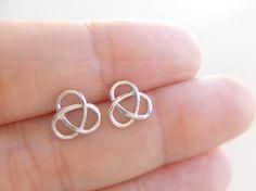 Tiny Triple Infinity Ear Studs Jewelry Earrings, Silver Plated, Sterling Silver Earrings, Simple Earrings, Gift for Her, Under 15 by twinpearlsjewelry on Etsy https://www.etsy.com/listing/155163708/tiny-triple-infinity-ear-studs-jewelry