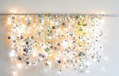 With San Francisco's skies becoming increasingly cloudy, I needed a little light & sparkle to last me throughout the winter. Fortunately, I just happened to have a strand of little white lights and yards & yards of mirror garland on hand...