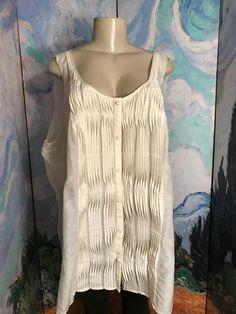 5dde975f05bb7 Lane Bryant 2X Ivory Sheer Silk Blend Button Down Pin-Tuck Sleeveless Tunic  Top